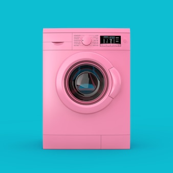 Duotone moderno da máquina de lavar roupa rosa sobre um fundo azul. renderização 3d