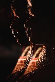 Dupla exposição. silhueta da encantadora noiva hindu na tradição