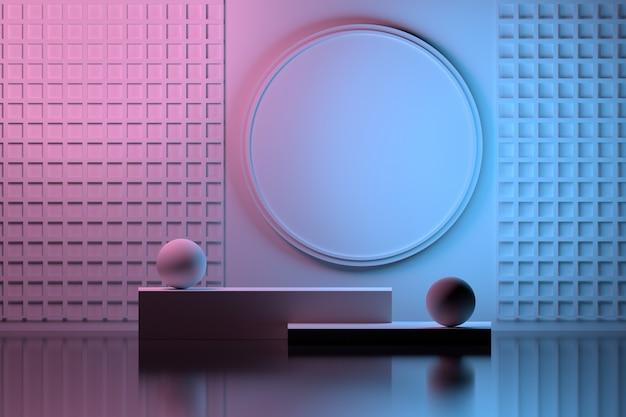Duplo colorido com composição de apresentação interna em rosa e azul