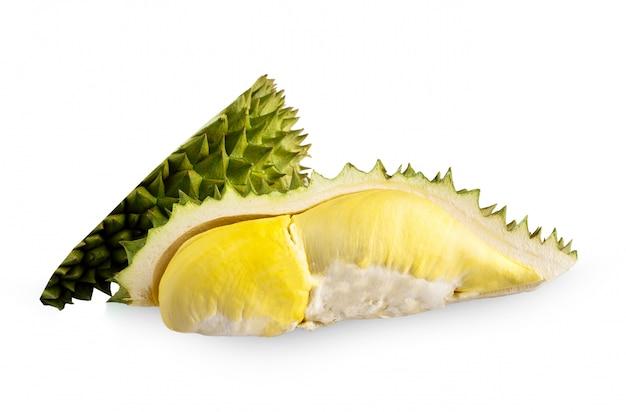 Durian e durian isolado no fundo branco