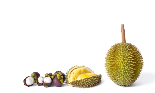 Durian e mangostões como rei e rainha das frutas na tailândia