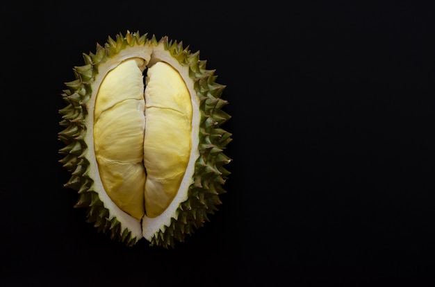 Durian fresco do corte que é rei da fruta de tailândia isolada no fundo preto com espaço para o texto.