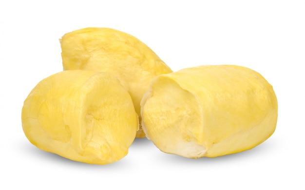 Durian isolado no branco com traçado de recorte