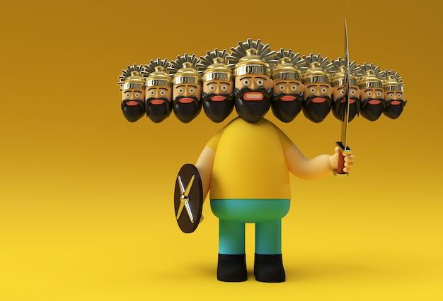 Dussehra celebration - ravana com dez cabeças com espada e escudo ilustração de renderização 3d.