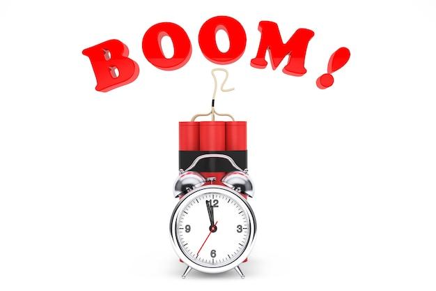 Dynamit com despertador e sinal de boom em um fundo branco