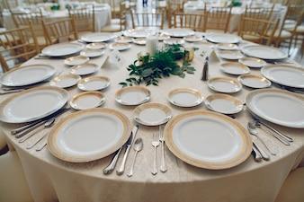 E, guardanapo, conjunto, jantar, formal, elegância, vazio, louça, banquete, detalhe, multa, servi