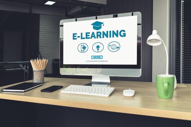 E-learning e educação online para estudante e conceito de universidade
