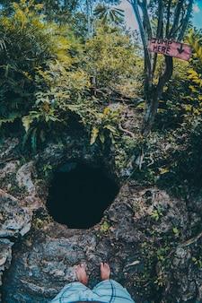 É o buraco em um cenote no meio da parte mais forrest da natureza