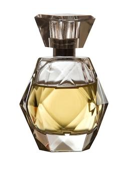 É quadrada com frasco de perfume feminino em fundo branco