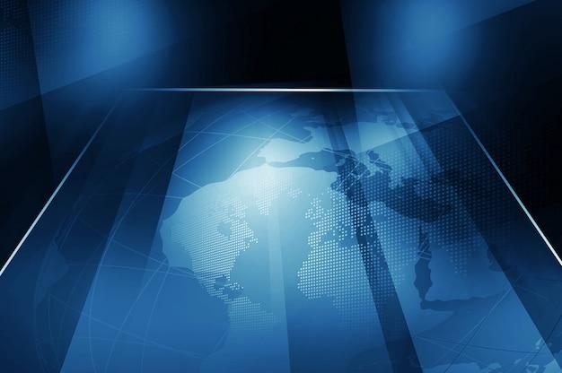 Earth globe inside big flat tv screen
