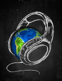 Earth headphone music background