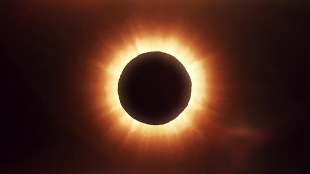 Eclipse solar no espaço, ilustração fotorrealista