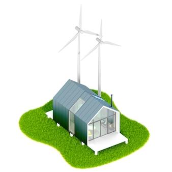Eco-conceito ambiental. vista superior de uma pequena casa moderna branca no estilo de um celeiro com telhado de metal em uma ilha com moinho de motores eólicos. ilustração 3d em uma mesa branca, isolada
