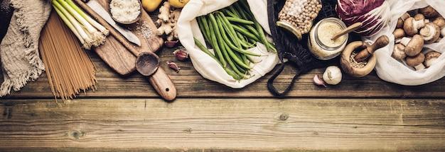 Eco friendly food shopping or cooking concept estilo de vida livre de plástico