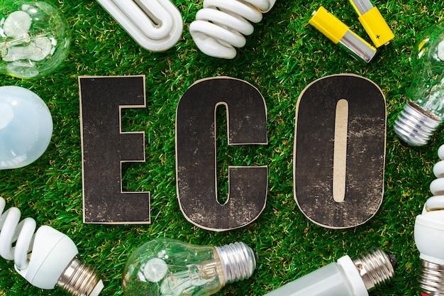 Eco lâmpadas economizadoras de energia em fundo de grama