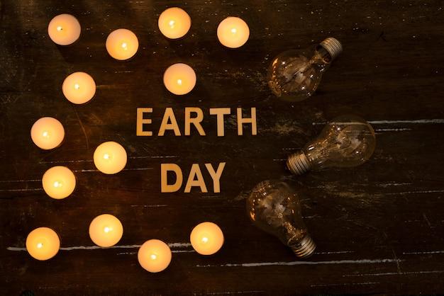 Economia de energia. conceito na hora da terra, uma hora sem luz