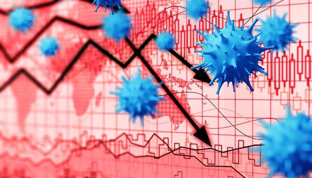 Economia mundial e conceito de vírus corona. o impacto do coronavírus na bolsa de valores.