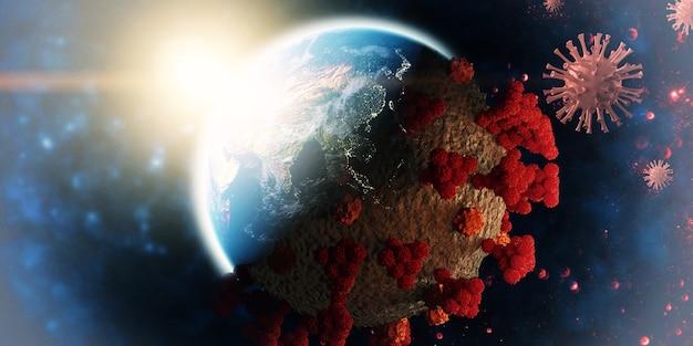 Economia mundial e conceito de vírus corona. o impacto do coronavírus no mundo. ilustração 3d