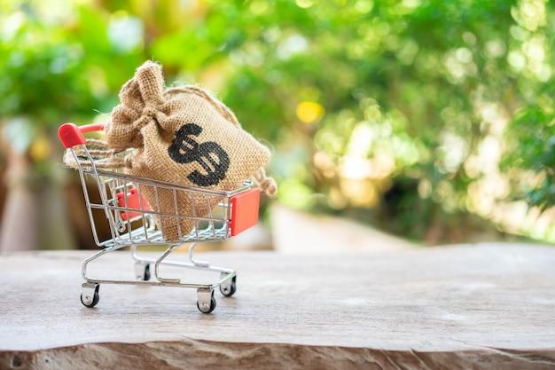 Economizando dinheiro conceito de coleta de moedas em um carrinho de compras
