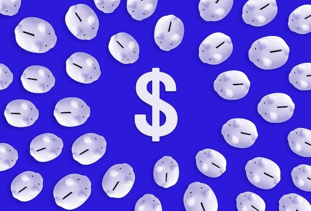 Economizando dinheiro ou conceitos de investimento financeiro com cofrinho e ícone de cifrão.