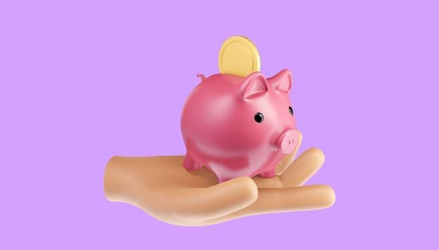 Economizando o conceito de dinheiro. transferência de dinheiro para o cofrinho. ilustração 3d