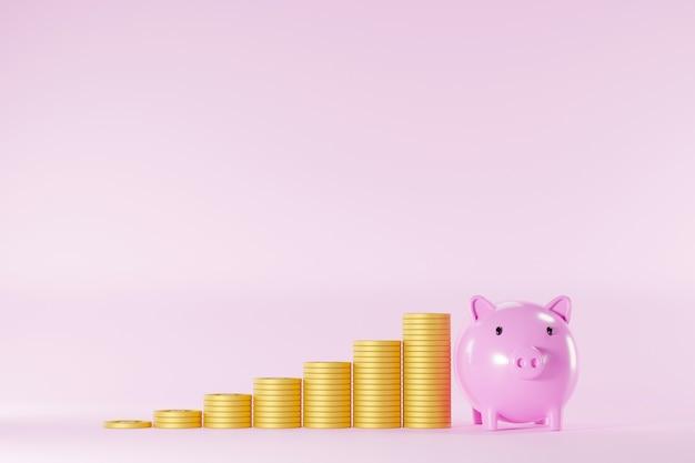 Economize dinheiro e o conceito de investimento. cofrinho e pilha de moedas intensificam o aumento no fundo rosa. ilustração 3d