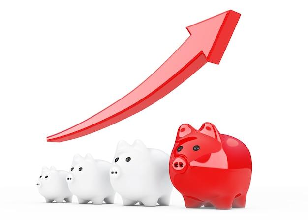 Economize o conceito de dinheiro. cofrinhos com seta de progresso em um fundo branco. renderização 3d