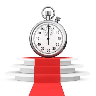 Economize o conceito de tempo. cronômetro sobre o pódio do vencedor com tapete vermelho em um fundo branco. renderização 3d