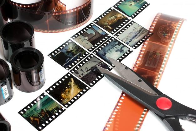 Edição de vídeo de filme negativo e positivo isolado