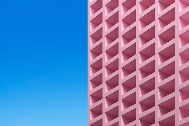 Edifício abstrato em fundo azul
