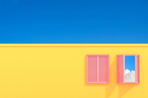 Edifício abstrato mínimo com a janela cor-de-rosa no fundo do céu azul, concepção arquitetónica com máscara e sombra na textura cor-de-rosa. renderização em 3d.