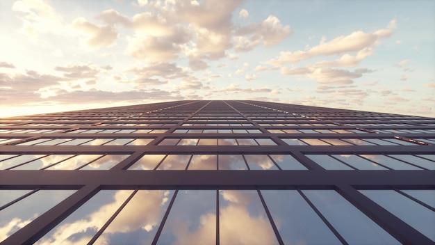 Edifício arranha-céu contra o céu azul com reflexos do céu