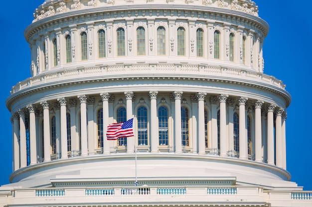 Edifício capitólio, washington dc, bandeira americana, eua