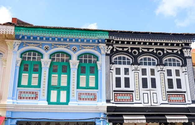 Edifício colorido no distrito de chinatown, em cingapura