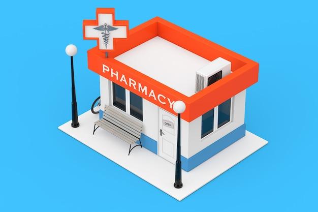 Edifício da loja da farmácia da drogaria como ícone plano sobre um fundo azul. renderização 3d