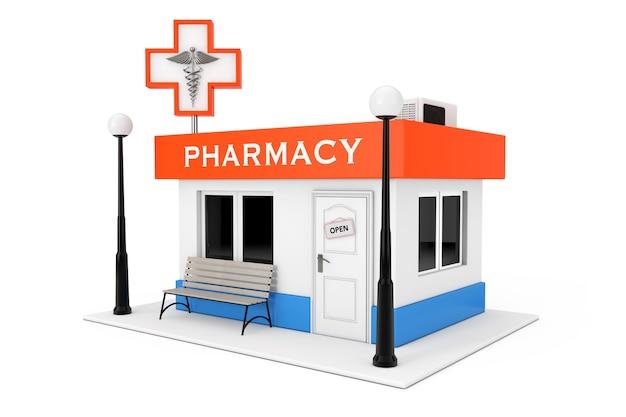 Edifício da loja da farmácia da farmácia em um fundo branco. renderização 3d