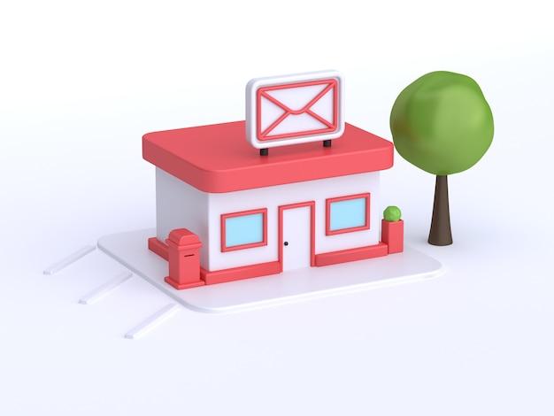Edifício de correios 3d estilo cartoon branco renderização em 3d, transporte pós-comunicação