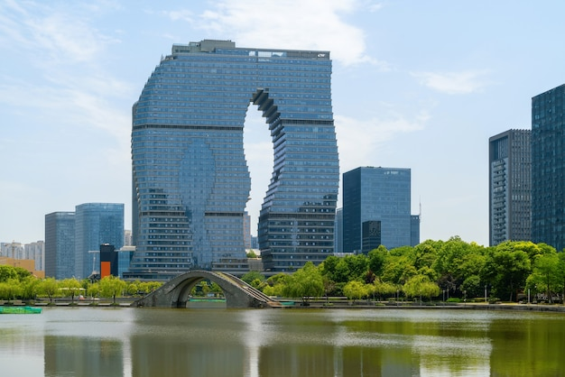 Edifício de escritórios do centro financeiro, distrito de binjiang, hangzhou, china