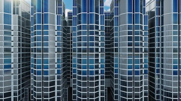 Edifício de escritórios em um fundo de céu azul renderização em 3d