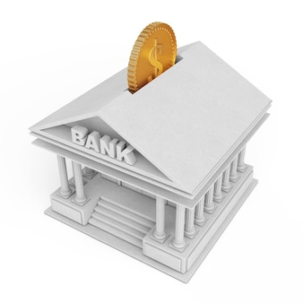Edifício do banco com moedas de ouro como moneybox em um fundo branco. renderização 3d.