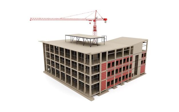 Edifício em construção modelo com um guindaste em um branco