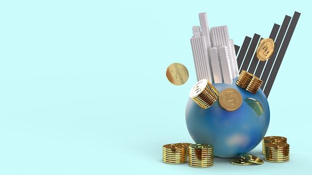 Edifício em moedas da terra e renderização 3d de gráfico para conteúdo de negócios.