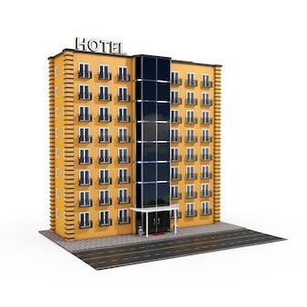 Edifício moderno de orange hotel com street road em um fundo branco. renderização 3d