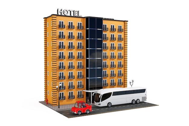 Edifício moderno orange hotel com estrada de rua e ônibus turístico em um fundo branco. renderização 3d