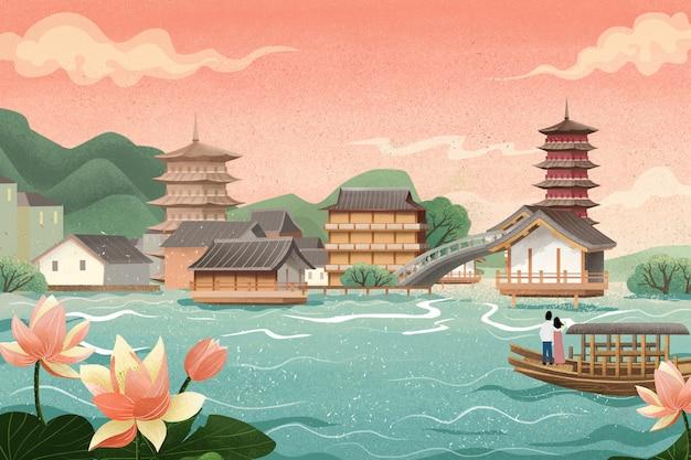 Edifícios antigos, pavilhões, cruzeiros no lago, flores de lótus e folhas de lótus