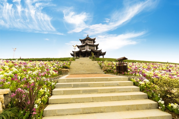 Edifícios antigos têm características étnicas, china jiaxing.