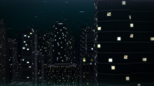 Edifícios da cidade à noite. cityscape renderização em 3d
