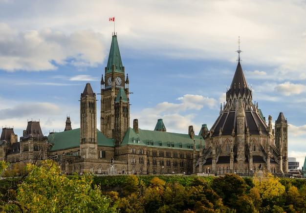 Edifícios do parlamento e biblioteca em ottawa, canadá