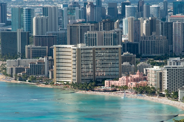 Edifícios, em, a, beachfront, visto, de, de, cabeça diamante, waikiki, kapahulu, st. louis, honolulu, ó