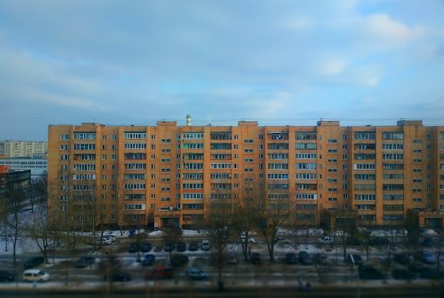 Edifícios russos: fundo dos subúrbios da cidade